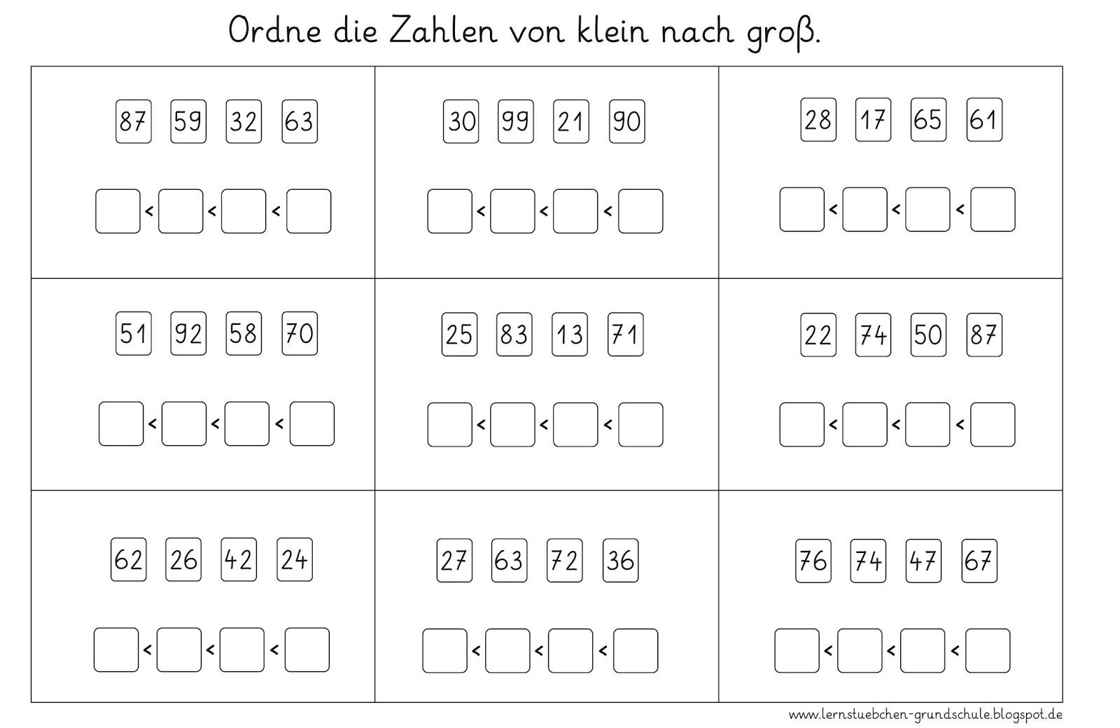 Ziemlich Ordnen Zahlen In Aufsteigender Reihenfolge Arbeitsblatt ...