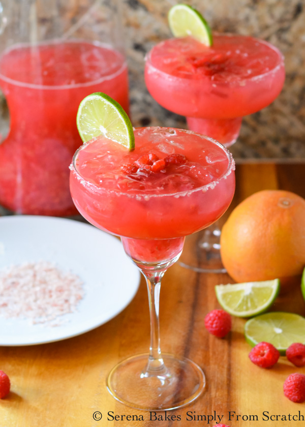 Raspberry Margaritas are a favorite pitcher cocktail perfect for parties from Serena Bakes Simply From Scratch.
