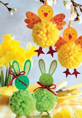 come realizzare dei coniglietti e pulcini con pompon