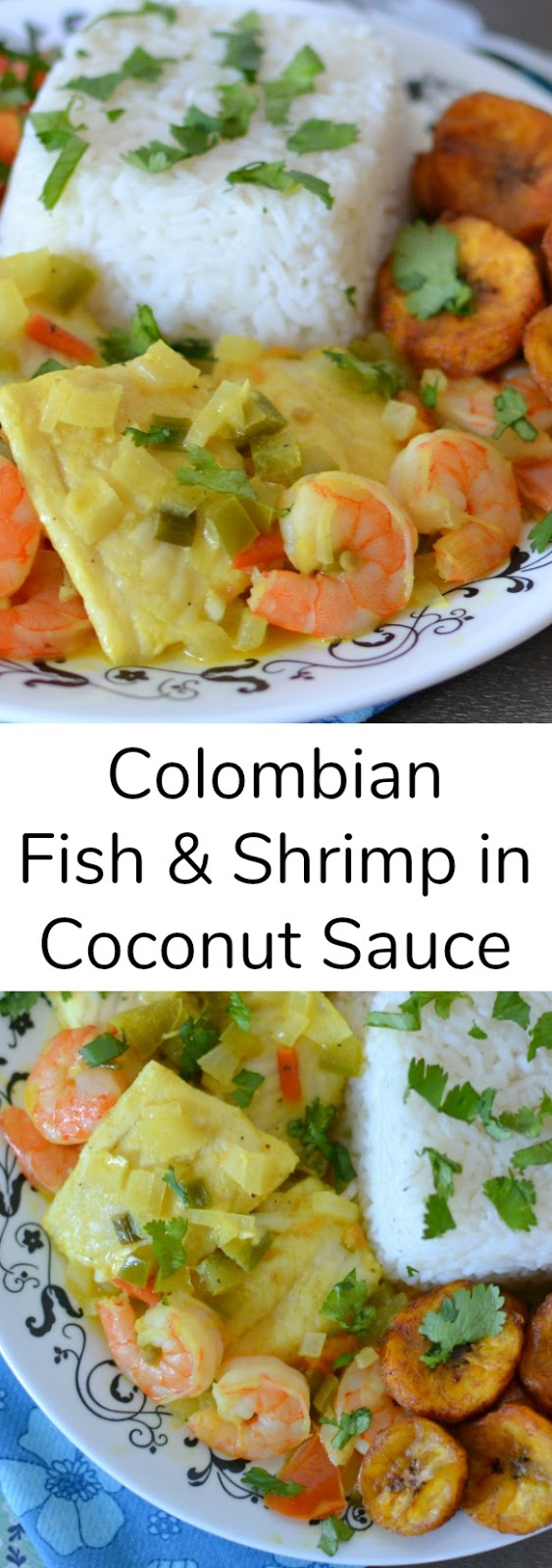 Colombian Fish and Shrimp in Coconut Sauce Recipe from Hot Eats and Cool Reads! This dinner recipe is so unique and flavorful! Best when served with chopped tomatoes and onions, fried plantains and rice!