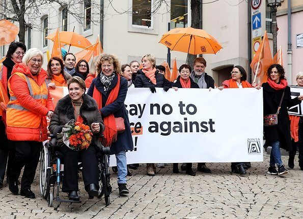 Grand Duchess Maria Teresa took part in a solidarity march against violence against women. Orange Week 2019