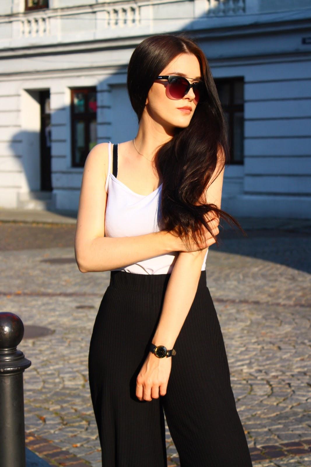 black culottes, spodnie culottes, minimalizm