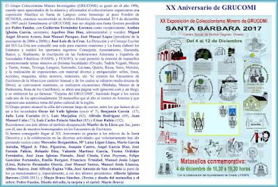 Díptico de la XX Exposición de Coleccionismo minero de Grucomi