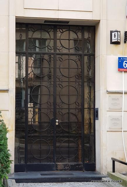 Śródmieście Warszawa Warsaw Aleksander Więckowski art deco kamienica architektura lata 30.  drzwi wejściowe numer