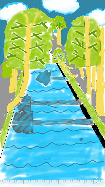 Cara mengambar pemandangan sungai.