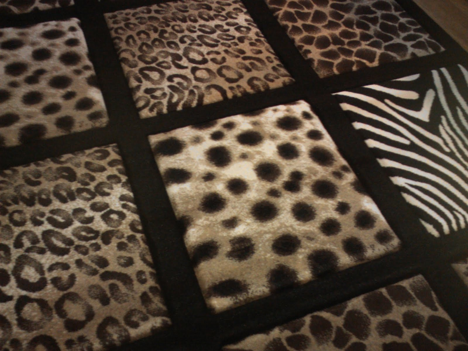 Large Area Rug with leopard zebra cheetah print 4 ft x 6