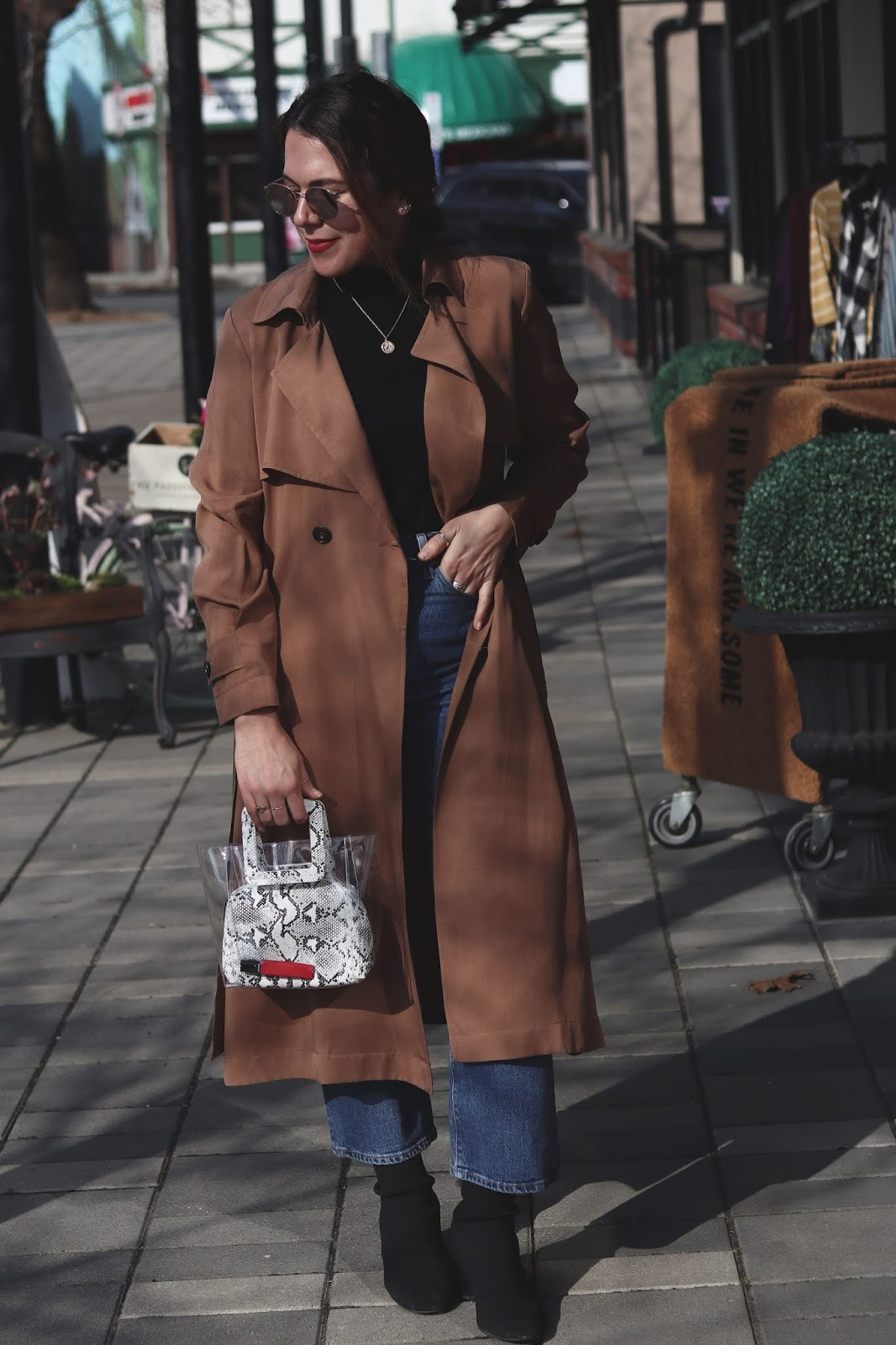 Le Chateau trench coat spring outfit idea levi's ribcage jeans bailey nelson sunglasses vancouver blogger aleesha harris