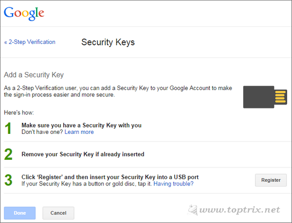 register your security key with google account