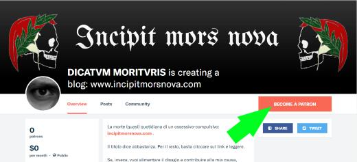 La mia pagina per raccogliere sottoscrizioni sulla piattaforma Patreon.