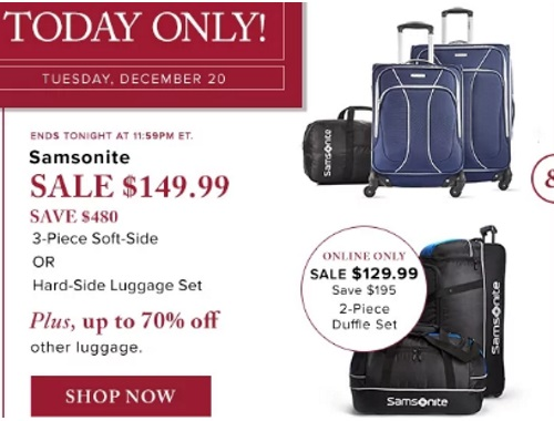 Hudson's Bay Samsonite 3 Piece Luggage Set $149