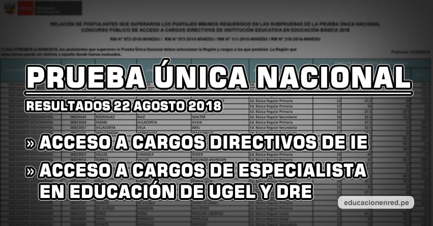 MINEDU publicó Resultados Finales Examen de Ascenso y Examen de Acceso a Cargos Directivos y Especialistas de UGEL y DRE 2018 (Miércoles 22 Agosto) www.minedu.gob.pe