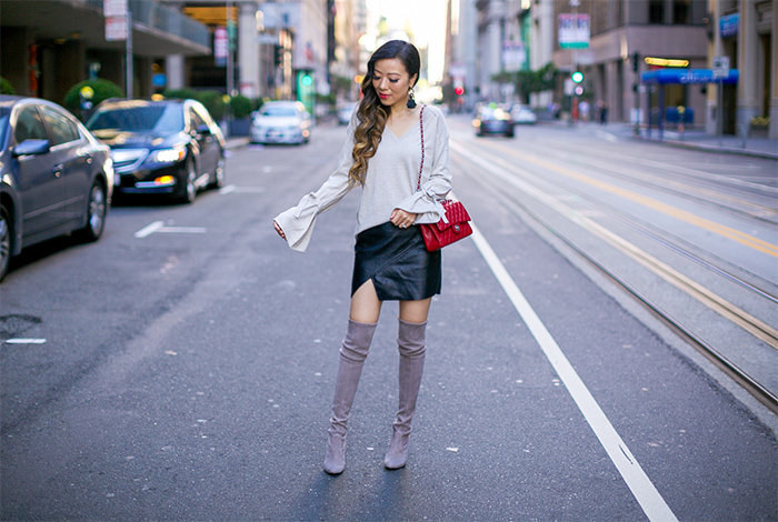 fall essential trench coat, chicwish trench coat, stuart weitzman highland over the knee boots, chanel classic flap bag, baublebar earrings, bow knot top, faux leather skirt, fall outfit ideas, fall fashion, san francisco street style, san francisco style blog