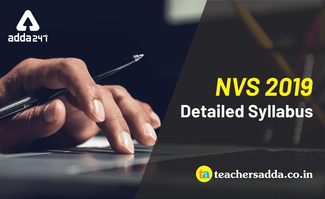 NVS Recruitment 2019 Notification Detailed Syllabus