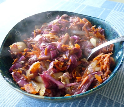 Red Cabbage, Carrot and Onion Stir Fry