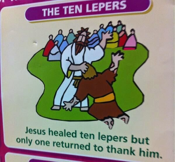 Funny Leper Thanked Jesus Cartoon Joke Picture