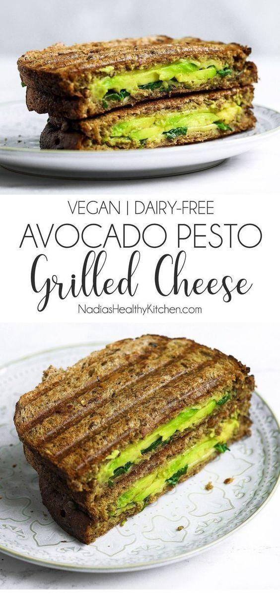 Vegan Avocado Pesto Grilled Cheese