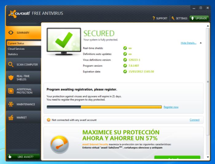 AVAST Free Antivirus 2013 - Software Port