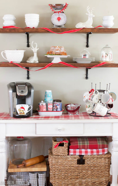 DIY dining shelves with hot chocolate station