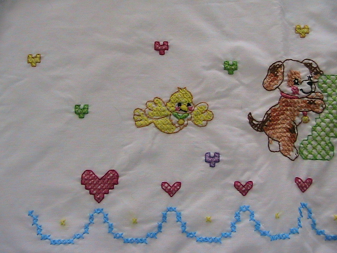 Everyday Art Work Baby Sheet Pillowcase And Quilt Top Cross Stitch