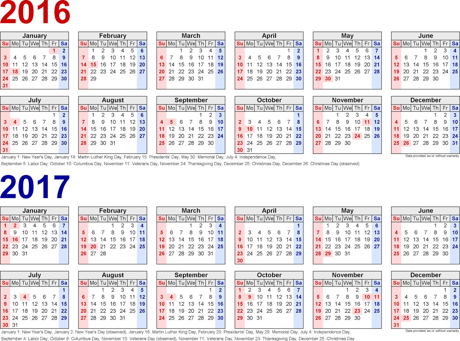 Printable Calendars for 2016/17 Monthly, Two year Printable Calendars ...