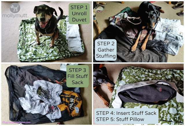 It's so easy to assemble your new #MollyMutt #dog bed - Just follow these easy steps! The Lapdogs think Molly Mutt beds rock! #happydogs #abedoftheirown #upcycle #rescuedogs #LapdogCreations ©LapdogCreations