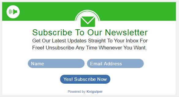 Horizontal Subscribe Widget blogger kn