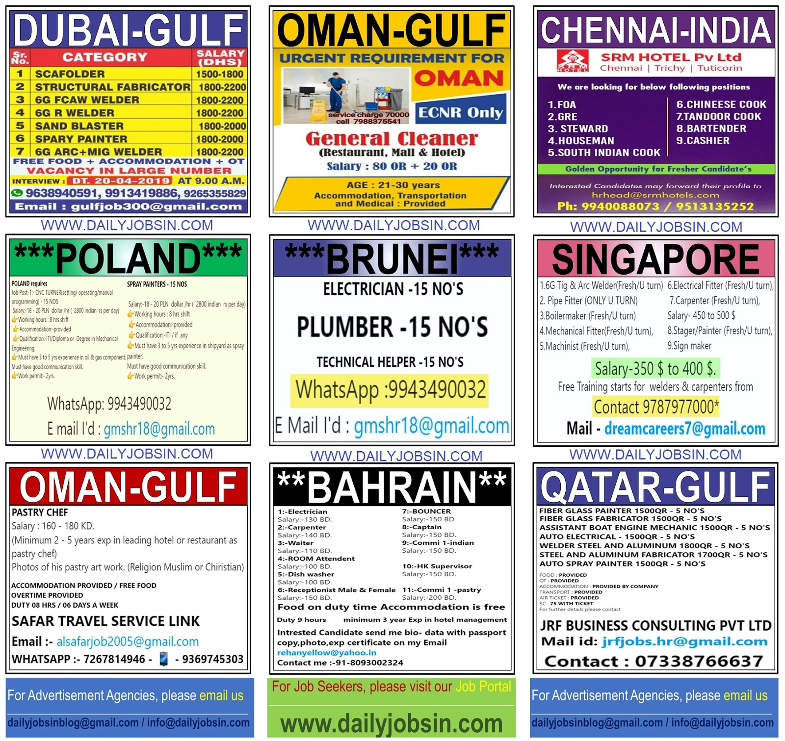 JOBS IN POLAND, BRUNEI, SINGAPORE, INDIA & GULF COUNTRIES ||
