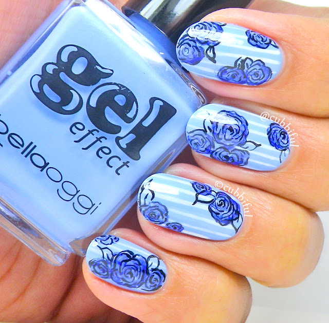 Blue Roses Nail Art By Cubbiful