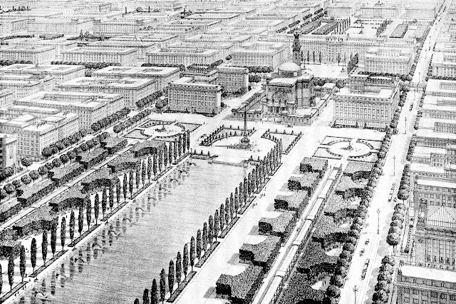 Otto Wagner 1917 architect drawing future city