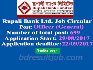 Rupali Bank Limited (RBL) Officer (General) Job Circular 2017
