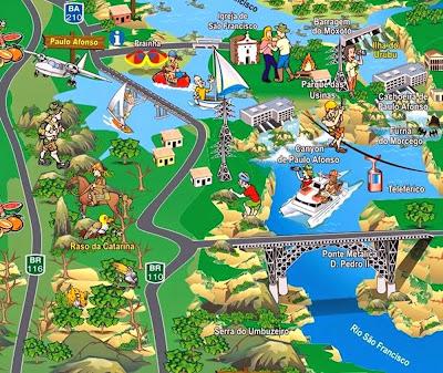 Mapa turístico de Paulo Afonso