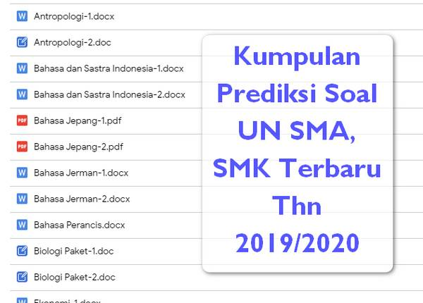Prediksi Soal UN SMA Tahun 2019