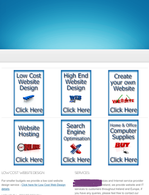 screenshot of a webpage with six image links with the text, 'Click Here'