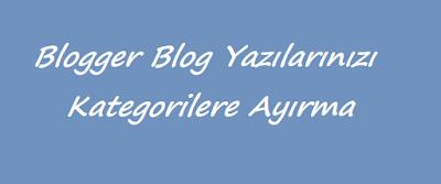 Blogger Blog Yazılarınızı Kategorilere Ayırma