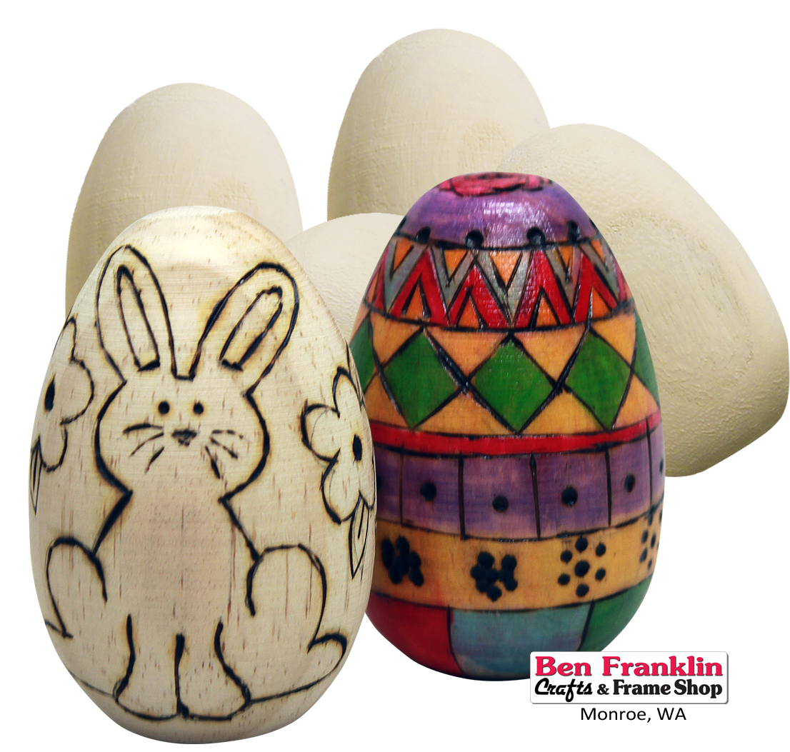 Ben franklin crafts and frame shop monroe wa 7 diy for Wooden eggs for crafts