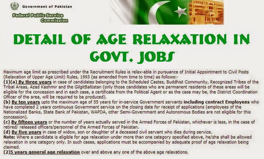 FPSC Rules of Age Relaxation