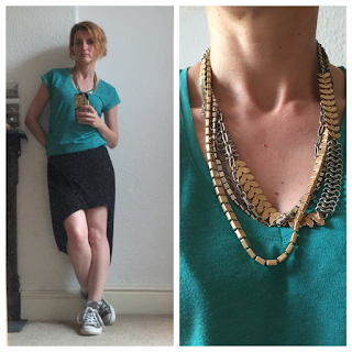 Warehouse t-shirt, All Saints skirt, Stella and Dot necklace