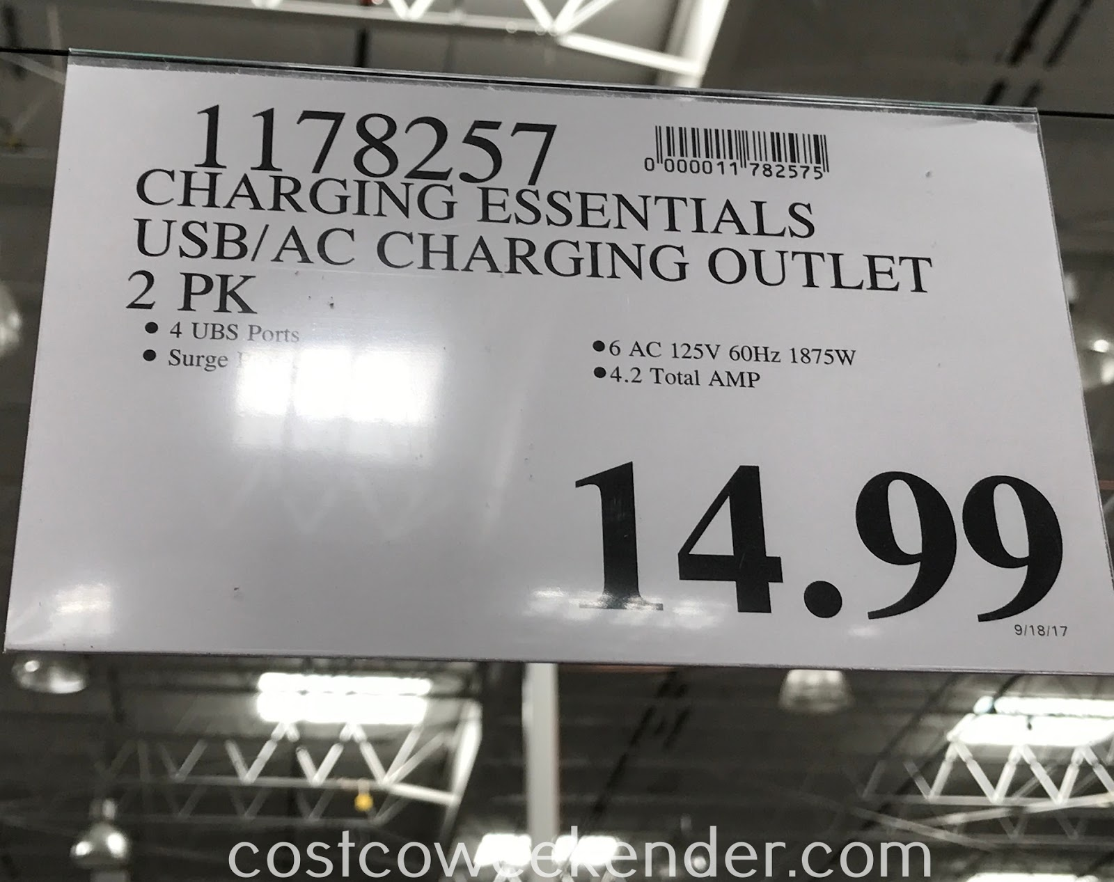 Deal for a 2 pack of Charging Essentials USB AC Charging Outlets at Costco