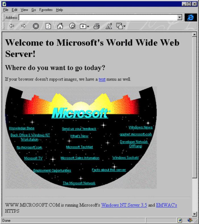 homepage sito microsoft nel 1994