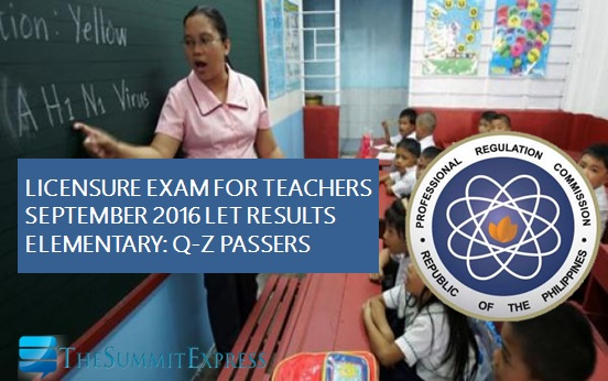 Q-Z List of Passers: September 2016 LET Results Elementary