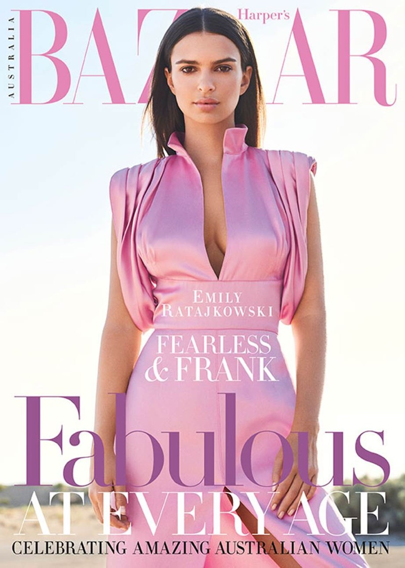 Emily Ratajkowski wears Prada on the August 2017 cover of Harper's Bazaar Australia
