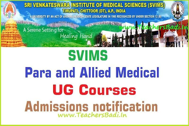 SVIMS,Para and Allied Medical(PG) Courses,Admissions