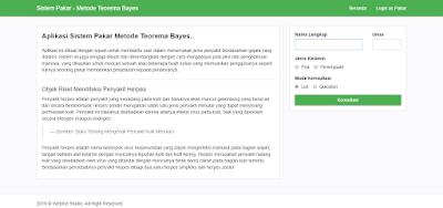 Aplikasi Web Sistem Pakar Metode Teorema Bayes