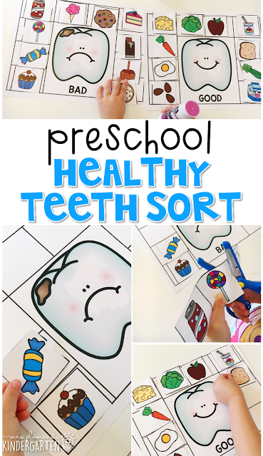 Read about dental health, then use pictures to sort foods that are good and bad for your teeth. Great for tot school, preschool, or even kindergarten!