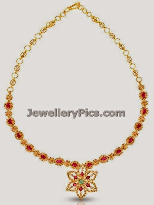 jewellery design pictures: Simple uncut diamond necklace ...