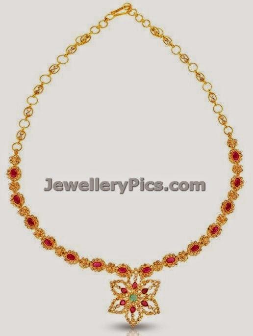 jewellery design pictures: Simple uncut diamond necklace
