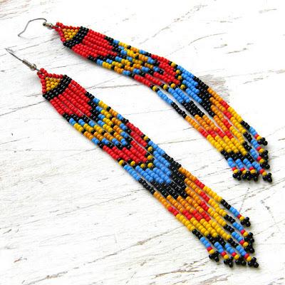 Серьги из бисера купить длинные этнические сережки с бахромой