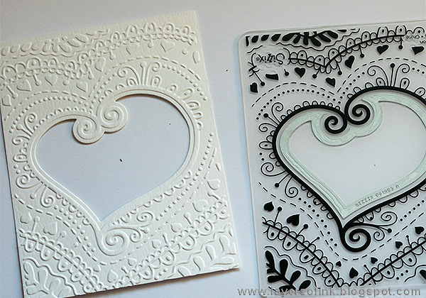 Layers of ink - Layered Valentines Shaker Card Tutorial by Anna-Karin Evaldsson with a Sizzix Impresslits folder