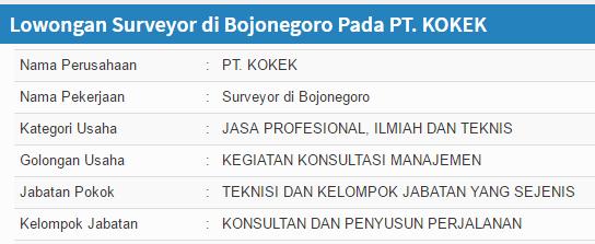Lowongan kerja PT. KOKEK terbaru Bojonegoro 2019