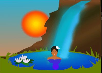 Woman bathing outside paradise